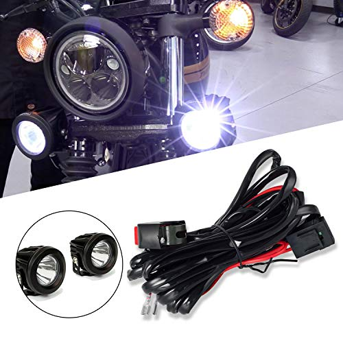 (DZG Universal LED Light Wiring Harness Kit 9V/12V/24V with Relay 30A Fuse On/Off Switch for Motorcycle Driving Lights Auxiliary Work Lamps(2 Leads))