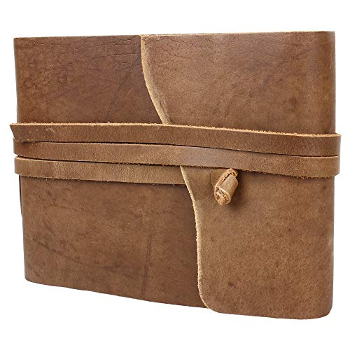 Rustic Town Leather Photo Album with Gift Box - Scrapbook Style Pages (Medium)