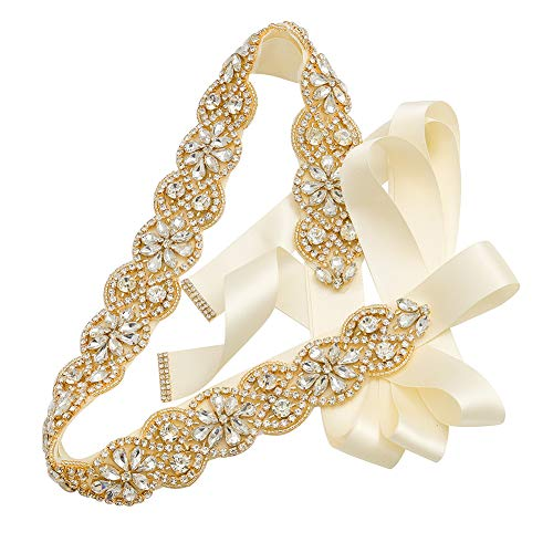 Yanstar Handmade Wedding Bridal Belts and Sashes Gold Crystal Rhinestone Ivory Ribbon Belt for Wedding Bridesmaid Prom Gowns ()