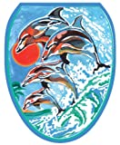 Toilet Tattoos TT-1032-O Dolphins Synchronized Swim Design Toilet Seat Applique, Elongated