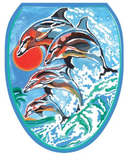 Toilet Tattoos TT-1032-O Dolphins Synchronized Swim Design Toilet Seat Applique, Elongated by Toilet Tattoos