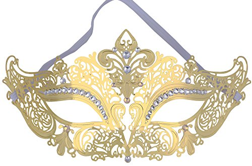 TAUT Metal Laser Cut Mask Opera Prom Party Masquerade Mask,Gold Clear Diamond (Alien Princess Costume)
