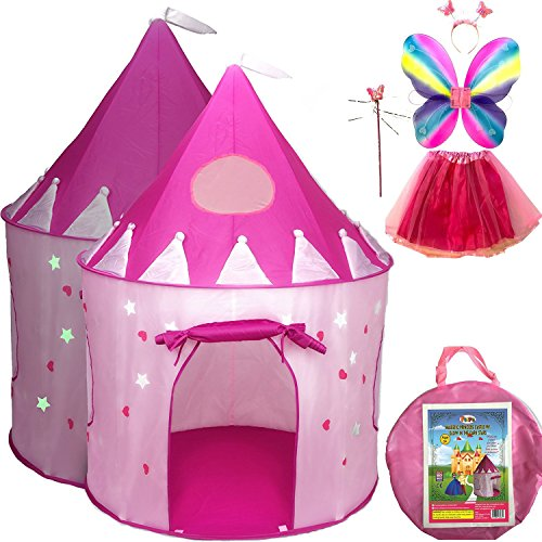 Kiddie Christmas Costumes (5-Piece Princess Castle Girls Play Tent w/ Glow in the Dark Stars & Butterfly Fairy Dress Up Costume - Childrens Play Tents for Indoor & Outdoor Use with Pink Girls Playhouse Fairy Tale Carrying Case)