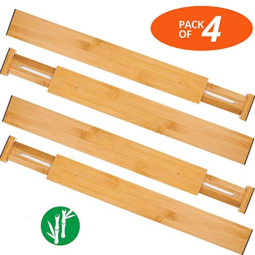 Oberhoffe Adjustable Expandable Dividers Bamboo Drawer Divider Drawer Organizers 100% Natural Bamboo Best for Kitchen, Dresser, Bedroom, Bathroom,Desk- Set of -