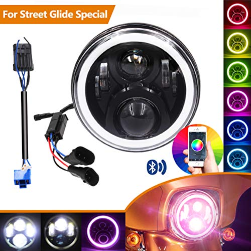 7 Inch 2014-2018 Harley Street Glide Special LED Headlight, with Cellphone Bluetooth Controlled Multicolor Angel Eye, Road King Special Headlamp Hi-Lo Beam Projector with RGB Music Mode Halo,(Black)