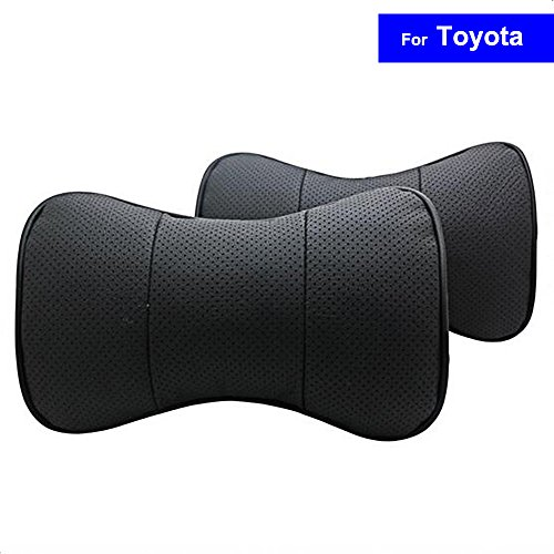 SZSS-CAR 2 Pcs Genuine Leather Bone-shape Car Seat Neck Rest Headrest Comfortable Pillow Cushion For Toyota Prado Corolla Yaris Rav4 Camry With Logo (Black) Corolla Pillow