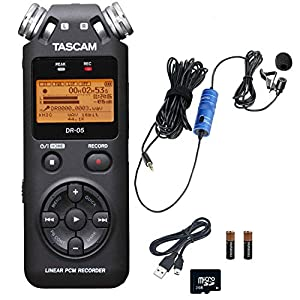 Tascam DR-05 Portable Handheld Digital Audio Recorder Bundle with Movo Lavalier Clip-on Omnidirectional Condenser…