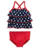 Carter's Baby Girls' Tankini American Flag Swimsuit (Red/White/Navy Blue) Bathing Suit, 6 months old
