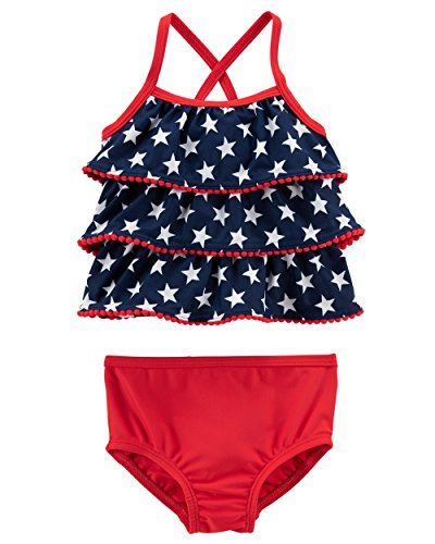 Carter's Baby Girls' Tankini American Flag Swimsuit (Red/White/Navy Blue) Bathing Suit, 12 months old -