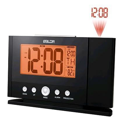 Reloj digital techo pared Proyección Reloj Despertador retroiluminación LCD Temperatura Tiempo pantalla mesa Termómetro Reloj de