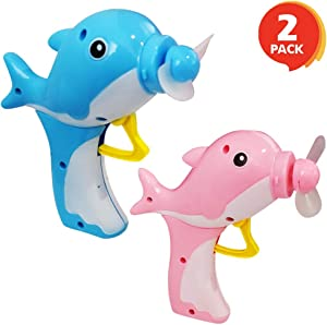 ArtCreativity 5 Inch Dolphin Fans for Kids - Set of 2 - Handheld Crank Cooling Fans - Summer Outdoor Toys for Boys and Girls - No Batteries Needed - Birthday Party Favors for Children - Pink and Blue