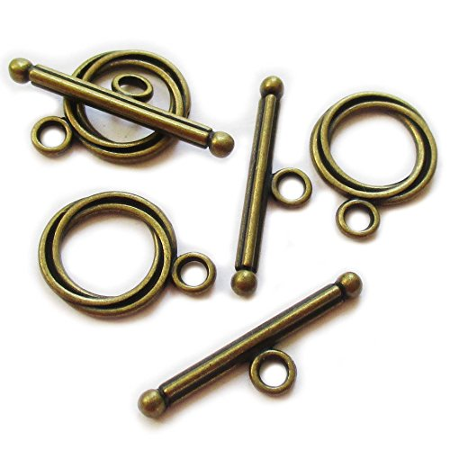 Heather's cf 55 Pieces Brass Tone Swirl Clasp Toggle Jewelry Making 17X13/23X6mm (Swirl Toggle)