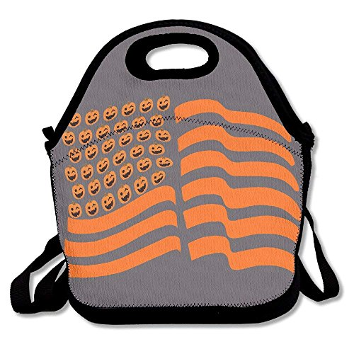 Custom Trendy Lunch Bag Boxes Halloween Pumpkin Flag US Multifunction Shopping Travel Bags Lunchbox Sack Totes for Outdoor Activity]()