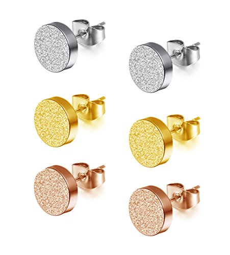WDSHOW+Stainless+Steel+Frosted+Stud+Earrings+Set+Pierced+Tunnel+Rose+Gold+Silver