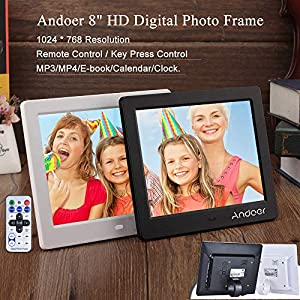 Digital Photo Frame 8 inch, Andoer HD Wide Screen High Resolution with Remote Control (8 inch White)