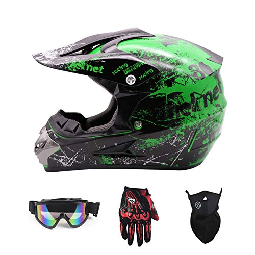 Sanqing Motorcycle Helmet, Youth Kids Dirt Bike Helmets,Motocross Racing Bike Helmet Four Seasons Universal (Gloves, Goggles, Mask, 4 Piece Set),Green,M