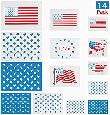 Amazon.com: 14 Pack American Flag Stencils, Reusable 50 Star Stencil on