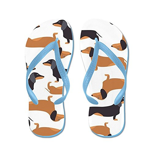 CafePress Cute Dachshunds - Flip Flops, Funny Thong Sandals, Beach Sandals Caribbean Blue