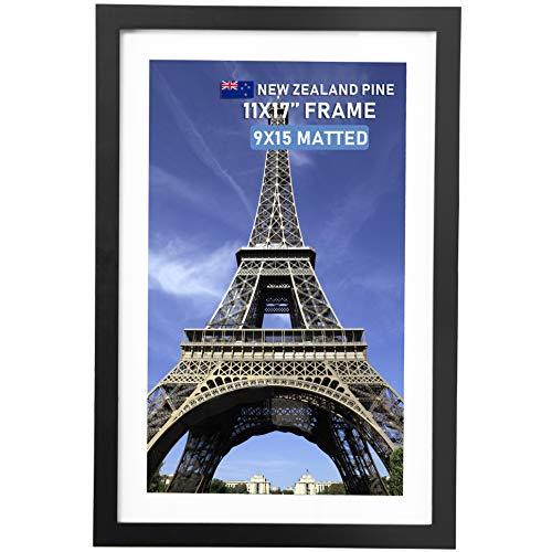 Beyond Your Thoughts Wood + Real Glass (Hang/Stand) 11X17 Black Picture Photo Frame with Matted for 9X15 Photo for Wall and Table Top-Mounting Hardware Included(1 Pack) (Expansion Snap Card)