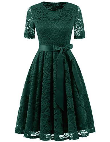 - DRESSTELLS Short Bridesmaid Scoop Floral Lace Dress Cocktail Formal Party Dress DarkGreen 3XL
