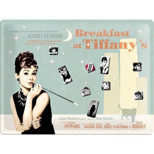 Nostalgic-Art 25005 Breakfast at Tiffany's Blue Magnettafel, 30 x 40 cm inklusive 9 Magneten
