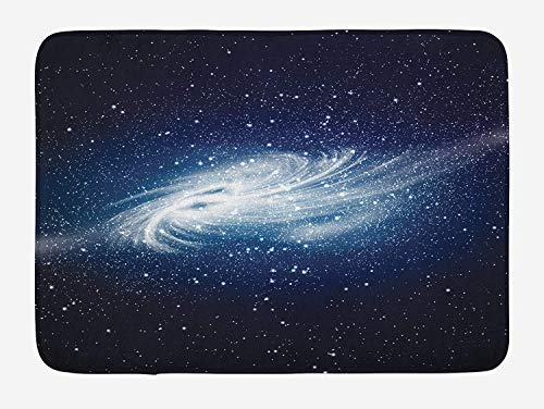 Weeosazg Outer Space Bath Mat, Spiral Galaxy Image Space and Stars Celestial Cosmos Expanse Universe Modern, Plush Bathroom Decor Mat with Non Slip Backing, 31.5 X 19.7 Inches, Navy White