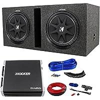2KICKER 43C124 Comp 12 Car Audio Subwoofer+Sub Box+DXA250.1 Amplifier+09DPK8 Amp Kit