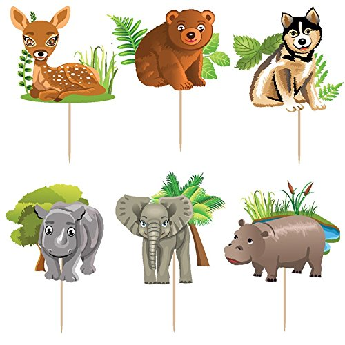 72pcs jungle forest animal cake Toppers Picks Kid's boy birthday party decorations party supplies favors children gifts