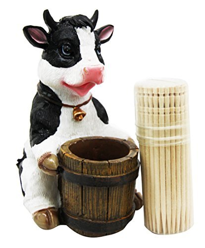 - Ebros Country Farm Bovine Cow With Bell Collar Holding A Wooden Barrel Decorative Toothpick Holder Statue With Toothpicks 4