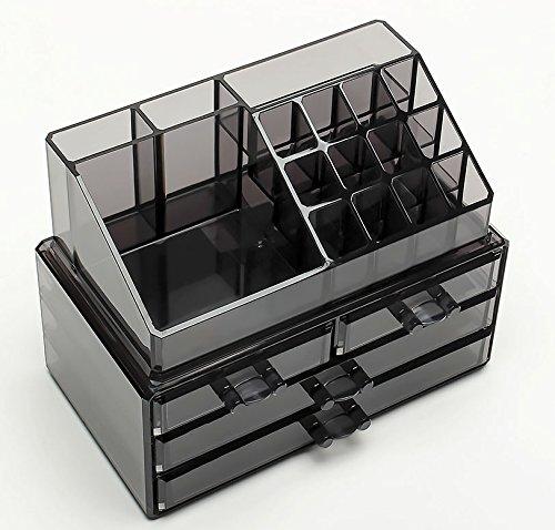 FOBUY Caja acrílica Estante de maquillajes Maquillaje Cosméticos Joyería Organizador (4 Drawers Clear C) (Gris humo): Amazon.es: Juguetes y juegos
