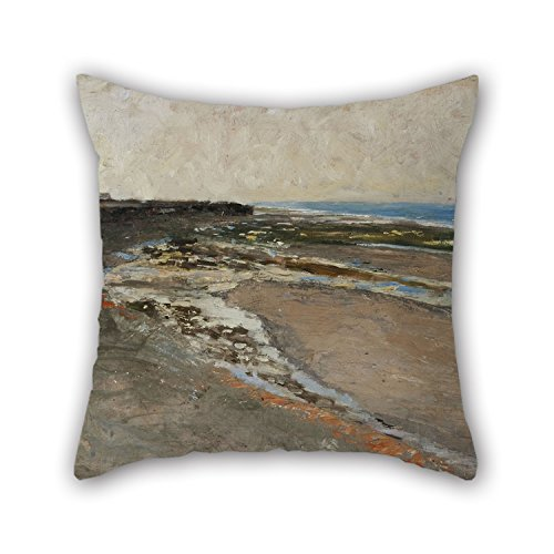 (Artistdecor 20 X 20 Inches / 50 By 50 Cm Oil Painting Carl Fredrik Hill - Seashore At Luc-sur-Mer Pillow Covers ,both Sides Ornament And Gift To Kitchen,father,valentine,son,study Room,bench)
