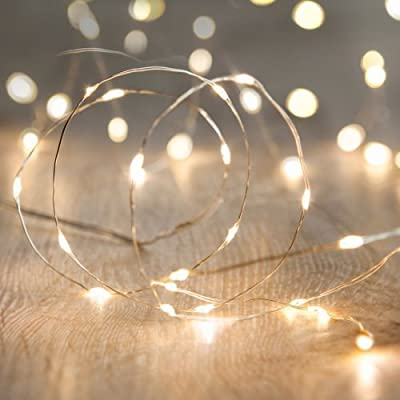 Waterproof IP67, 2 Sets of 9.8ft 30 LEDs, Battery Operated Micro LED String Lights, Warm White color for Outdoor and Indoor