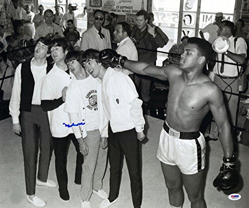 """Muhammad Ali Autographed 16"""" x 20"""" with The Beatles Photograph Signed in Blue - PSA/DNA Certified - Autographed Boxing Photos"""