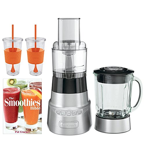 Cuisinart SmartPower BFP-603 Die-Cast Metal Blender and Food Processor w/ Bundle Includes, Pat Crocker The Smoothies Bible (Paperback) & 2x Copco Eco First Tumbler 24.Oz Togo Cup Mug - Orange