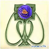 Beautiful Art Nouveau Rennie Mackintosh Blue Rose flower 6'/152mm ceramic tile suitable for kitchens, bathrooms, fireplace surrounds, splash backs, murals and mosaics