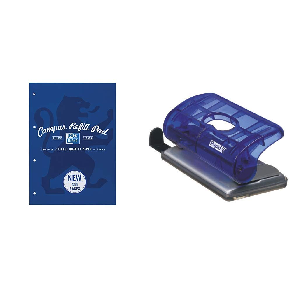 10 Bar with Format Markings Metal Sea Blue Oxford Campus A4 300 Page Refill Pad 1 Notebook /&Rapid 21162804 EC10 X-Ray Hole Punch Transparent Guide Sheets Navy