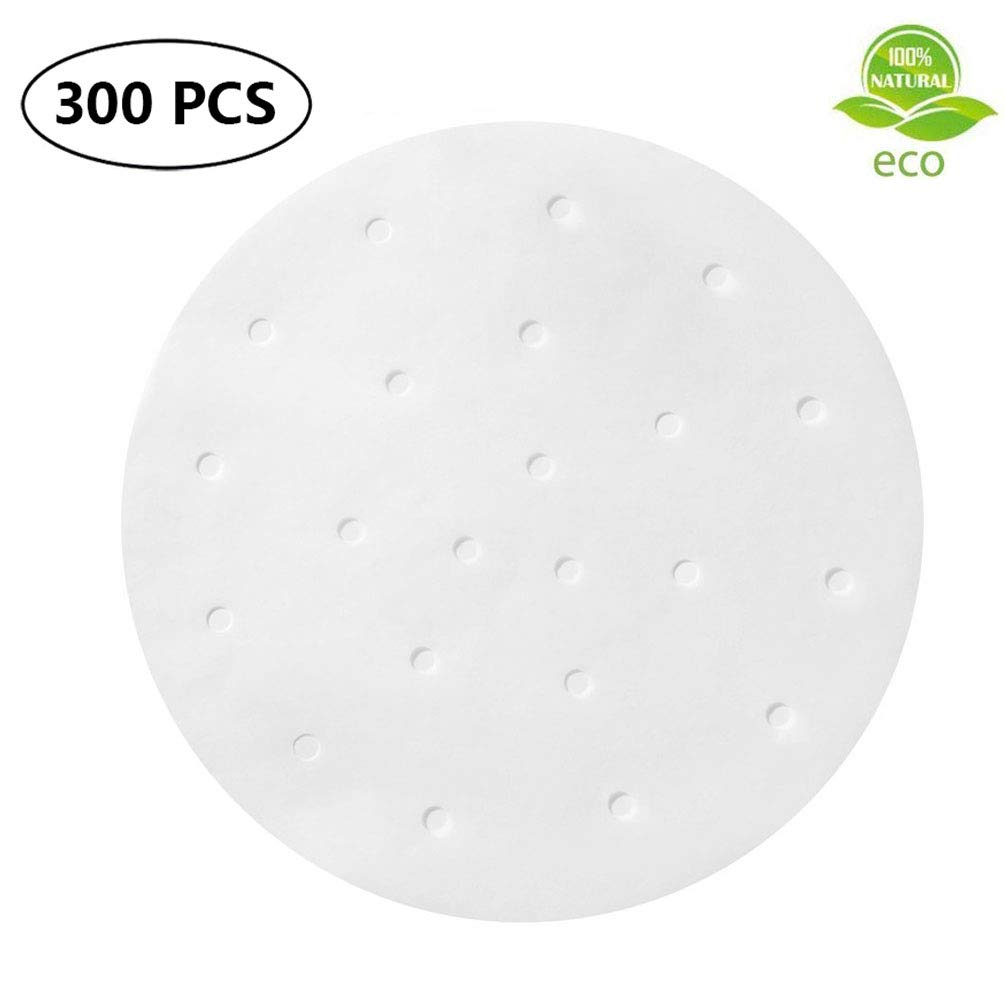300pcs Air Fryer Liners 7.5 inch Round Bamboo Steamer Liners Premium Perforated Parchment Paper Sheets Non-stick Basket Mat for Air Fryers Steaming Baking Dumplings Cooking
