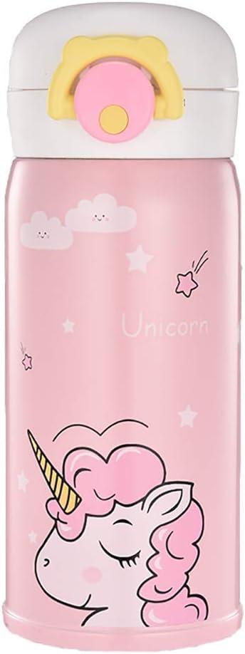 Termo de unicornio de acero inoxidable para niñas, bonita botella de agua para uso en interiores y exteriores, aislado, a prueba de fugas, para niños