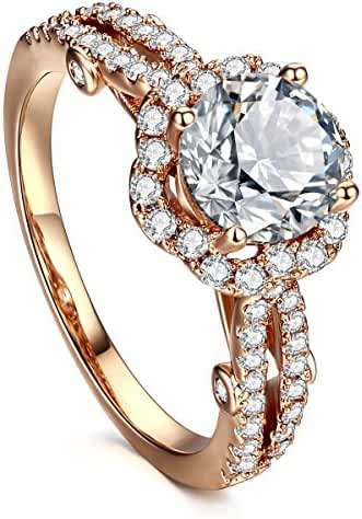 AllenCOCO Gold-Plated Clear Exquisite 1 Carat Simulation Diamond Cubic Zirconia Rings
