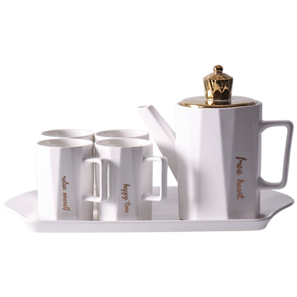 CSQ Coffee Cup Cold Kettle, Six-Piece Household Tea Set Clubhouse Party Teapot Get Together Ceramics Teapot Capacity: 900ml Afternoon Tea (Color : White)