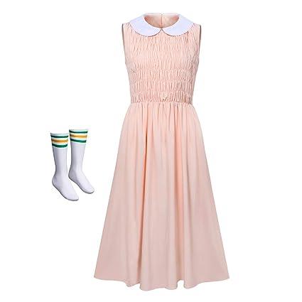 NUWIND - Disfraz de Stranger Eleven para Mujer Falda Rosa Sin Mangas con Calcetínes Vestido Drama para Cosplay Halloween Adultos (S)