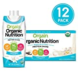 Orgain Plant Based Organic Vegan Nutrition Shake, Vanilla Bean, Gluten Free, Dairy Free, Non-GMO, 11 Ounce, 12 Count, Packaging May Vary