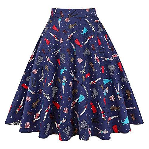 Vintage 50 imprim Pois Taille Haute midi Jupe Plus Taille d't d't Femmes Girl Jupes s Bikini Floral Skater Noire Femme Jupes Dames q8vZUU