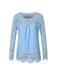 Fashion Story Women Lace Crochet Chiffon Sleeve Flower Autumn Top Blouse Shirt