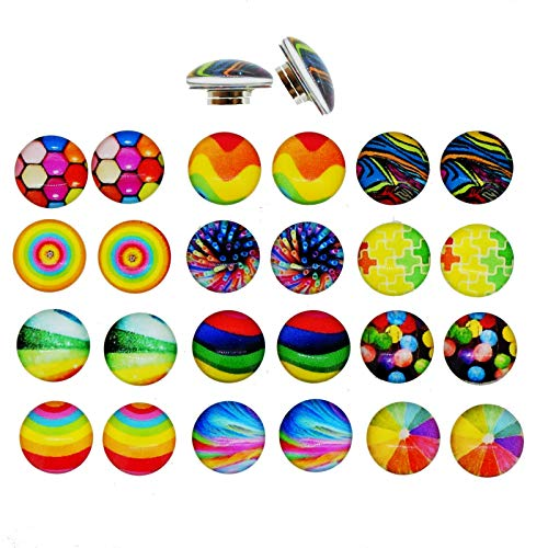 Colorful Glass Dome Magnetic Clip-on Earrings for Teen Girls Kids Women non-pierced Ears