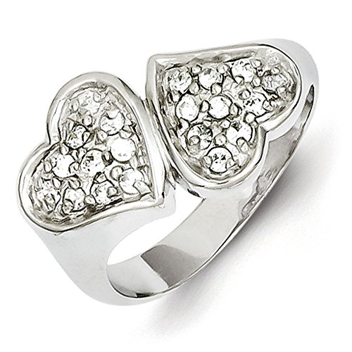 Sterling Silver Cubic Zirconia Double Heart Ring - Size (Sterling Silver Double Heart Ring)