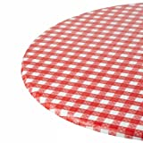 Kwik-Cover 60-RW 60'' Round Kwik-Cover- Red Gingham Fitted Table Cover (1 full case of 100)