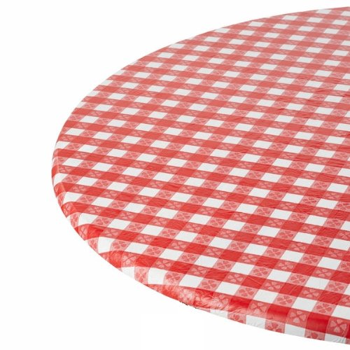 Kwik-Cover 30-RW 30'' Round Kwik-Cover- Red Gingham Fitted Table Cover (1 full case of 100) by Kwik-Covers