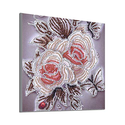 Diamond Painting, DIY 5D Partial Drill Cross Rose Flower Painting Handmade Kits Embroidery Wall Art -