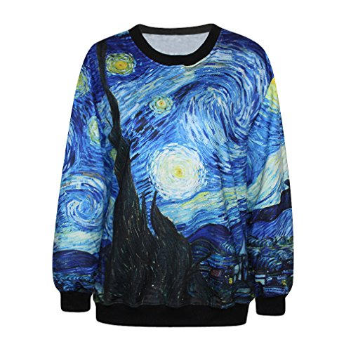 ColorFino Women's Starry Night Printing Pullover Sweatshirt Dark Blue (B) One Size